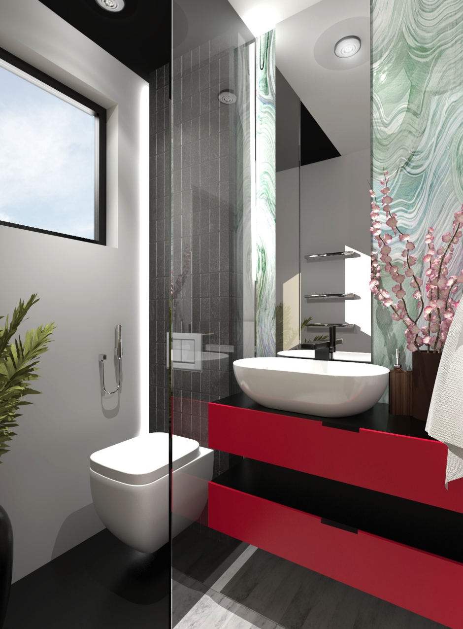 bathroom design is really simple as i wanted to simplify it with basic black white and gray tones with few decors that gives accent to the room: architecture bathroom toilet